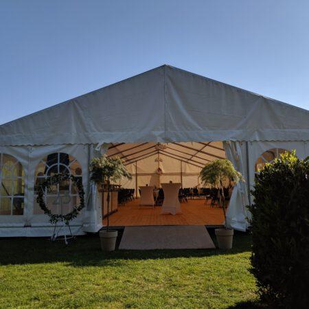 Alu-Zelt 10x18m mit Holzfußboden